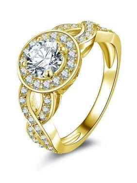 147ab2ad3 Product Image Allura 0.80CT Twisted Halo 10K Solid Yellow Gold IOBI  Simulated Diamond Ring 7