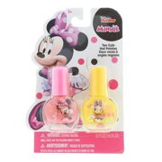 Minnie Mouse Pretend Play Girls Nail Polish Gift Set Pink and Yellow - 2 Pieces