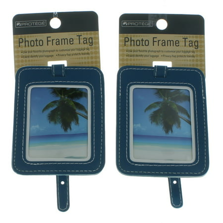 WM Set of 2 Protege Photo Frame Luggage Tags Suitcase ID Choose Color (Picture Luggage Tags)