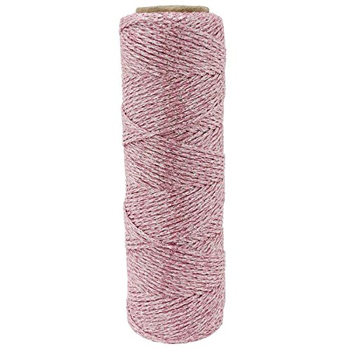 Just Artifacts Eco Metallic Bakers Twine 55yd 11 Ply Solid Light Pink - Decorative Bakers String Twine for DIY Crafts and Gift Wrapping