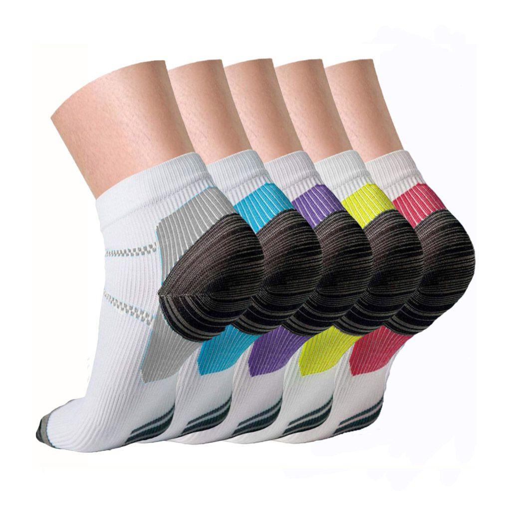 """Spencer - Spencer 5 Pairs Compression Socks for Women and Men, 10-20 mmHg  Low Cut Athletic Running Gym Ankle Socks for Plantar Fasciitis, Heel Foot  Pain Relief Arch Support """"L/XL,5 Colors"""" -"""
