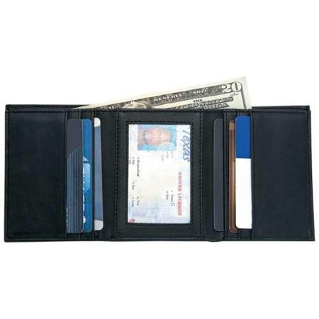 Mens Solid Genuine Leather Tri-fold Wallet