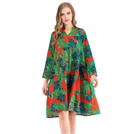 Women Plus Size Dress Vintage Floral Print Maxi Dress Boho Style Dress Sexy V Neck Long Sleeve Skirt with