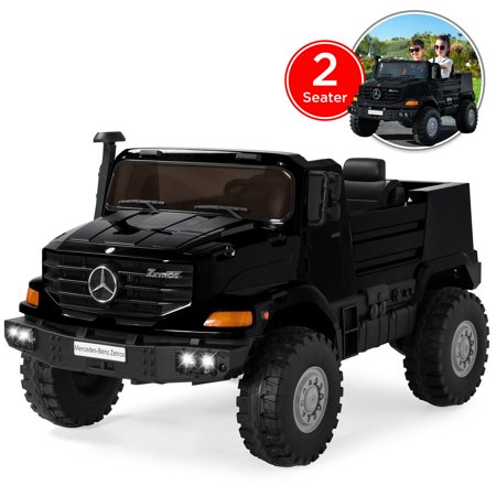 Best Choice Products Kids 24V 2-Seater Officially Licensed Mercedes-Benz Zetros Ride-On SUV Car Truck Toy w/ 3.7 MPH Max, LED Headlights, FM Radio, Trunk Storage, AUX Port, Horn, Sounds -