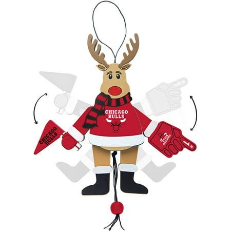 Topperscot by Boelter Brands NBA Wooden Cheering Reindeer Ornament, Chicago Bulls