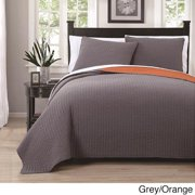 Project Runway Embroidered Reversable 3-piece Quilt Set King Grey/ Orange