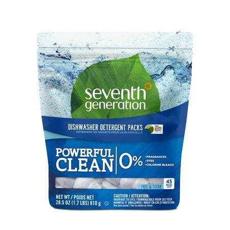 Seventh Generation Dishwasher Detergent Packs Fragrance Free, 45