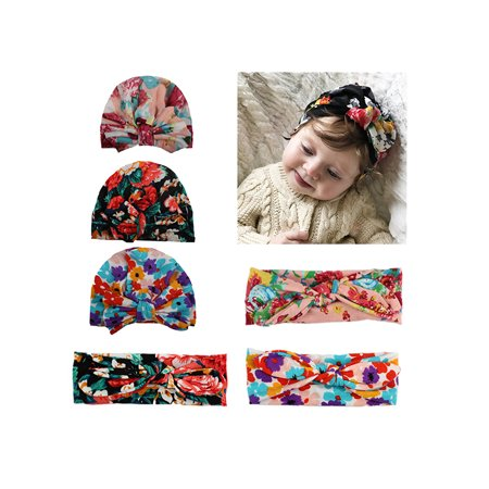 Baby Headbands, Coxeer 6 Pack Hair Bow Set Flower Printed Headbands with Bowknot Beanie Caps for Baby Girls (Headband Set)