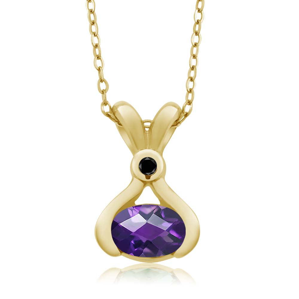 0.78 Ct Oval Checkerboard Purple Amethyst Black Diamond 14K Yellow Gold Pendant
