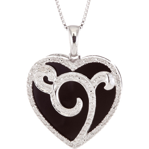 """7.13 Carat T.G.W. Onyx and Diamond Accent Sterling Silver Heart Pendant, 18"""""""