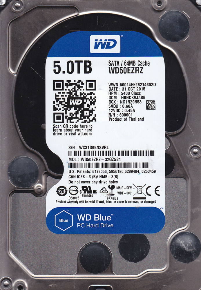 WD Blue 5TB Desktop Hard Disk Drive 5400 RPM SATA 6 Gb s 64MB Cache 3.5 Inch WD50EZRZ by