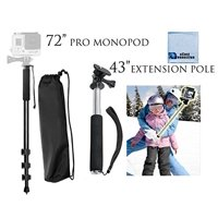 """72"""" Inch Monopod With Quick Release + Extension Pole 8.5"""" - 43"""" Inches (3.6 Feet) for GoPro Hero Cameras + eCostConnection Microfiber Cloth"""