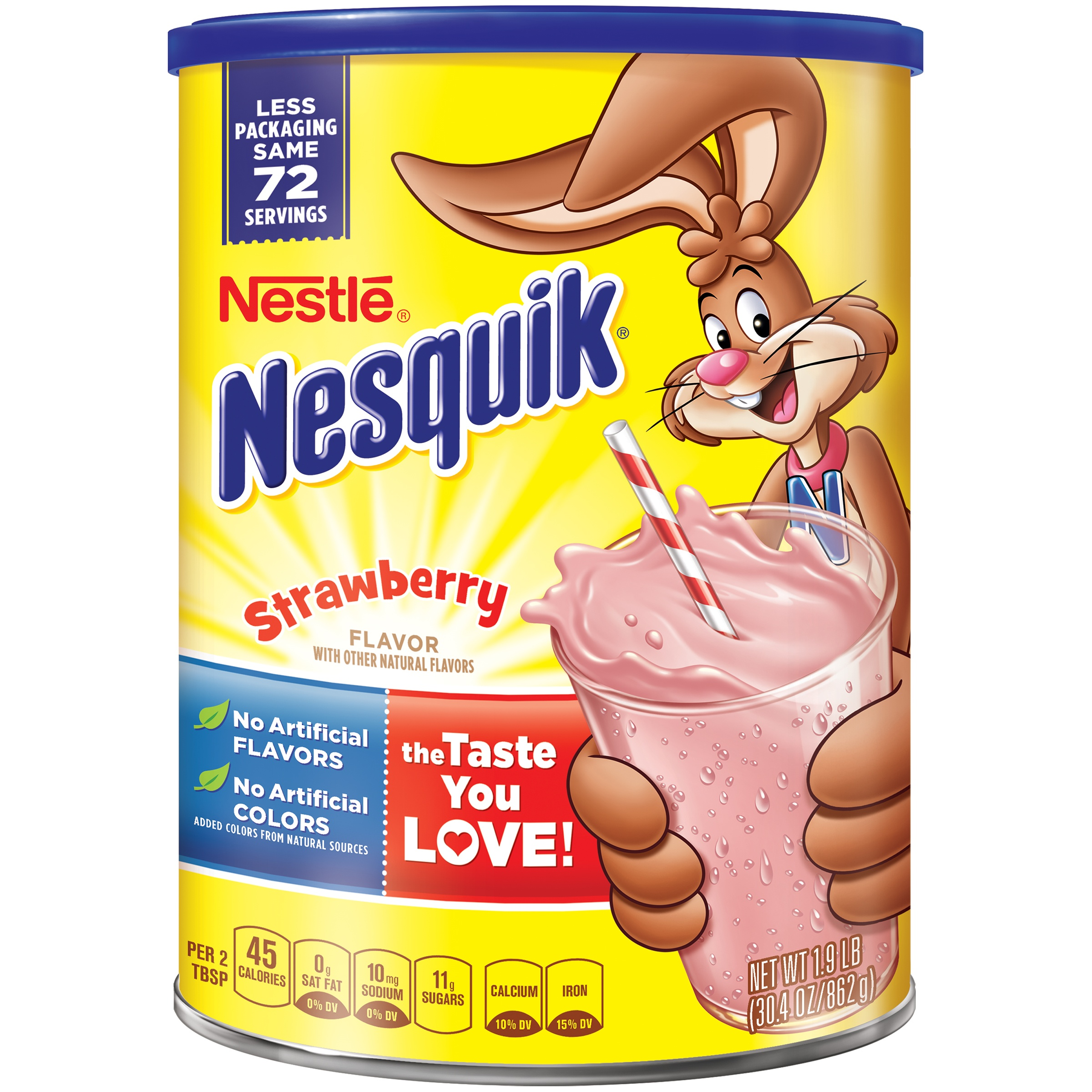NESTLE NESQUIK Strawberry Flavored Powder 2.2 lb. Canister