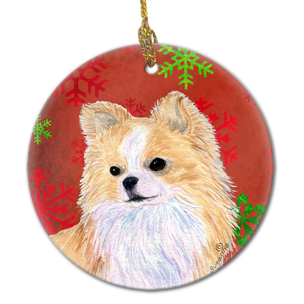 Chihuahua Red Snowflakes Holiday Christmas Ceramic Ornament SS4680