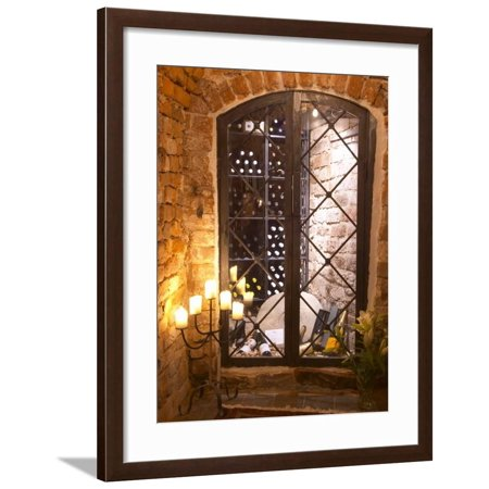 Wine Cellar with Bottles Behind Iron Bars, Stockholm, Sweden Framed Print Wall Art By Per Karlsson