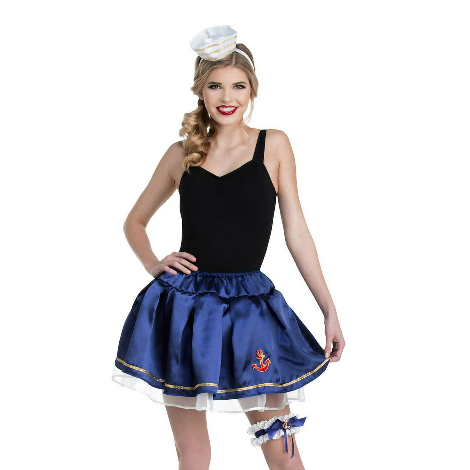 5868698977 Blue Sailor Tutu Skirt Garter Hat Womens Navy Marine Costume Accessory O/S  | Walmart Canada