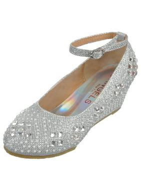 "Angels Girls' ""Gems & Pearls"" Wedge Heels (Youth Sizes 13 - 4)"