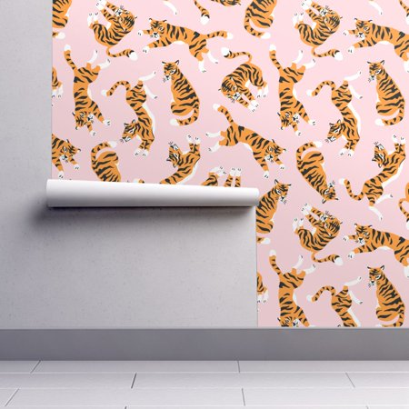 Removable Water Activated Wallpaper Wild Cat Safari Animal Tropic Jung