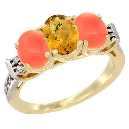 14K Yellow Gold Natural Whisky Quartz & Coral Ring 3-Stone 7x5 mm Oval Diamond Accent, sizes 5 -