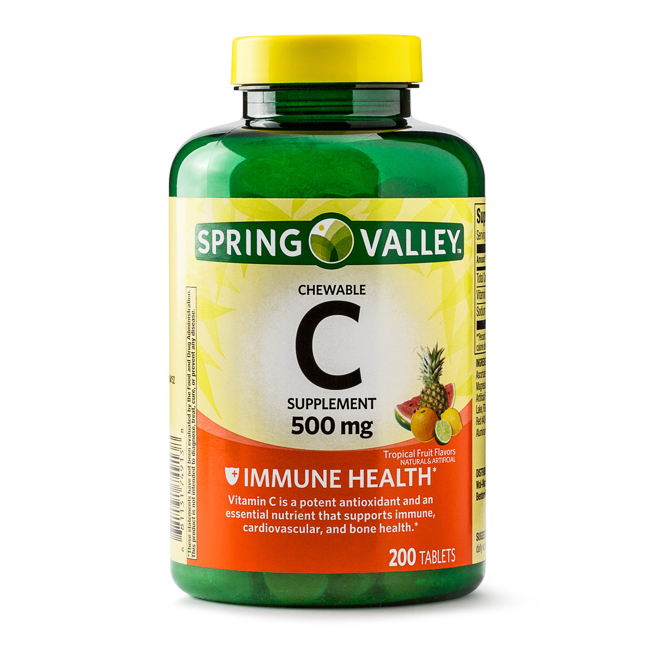Spring Valley Vitamin C Chewable Fruit Tablets, 500 mg, 200 Ct