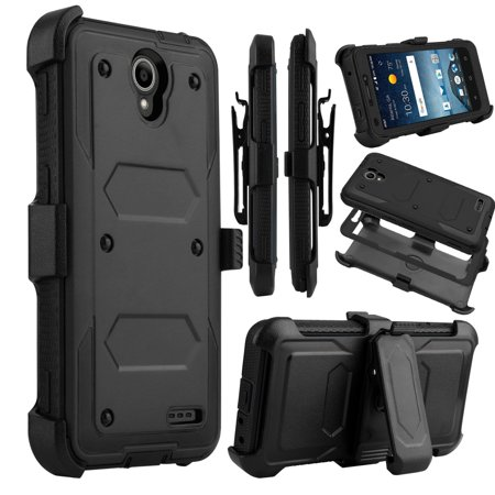 Mignova for ZTE Prestige 2 Case, ZTE Prelude Plus Case, Heavy Duty Shockproof Full Body Protection Rugged Case Cover with Swivel Belt Clip and Kickstand for ZTE Prestige 2/ZTE Prelude Plus (Black) ()