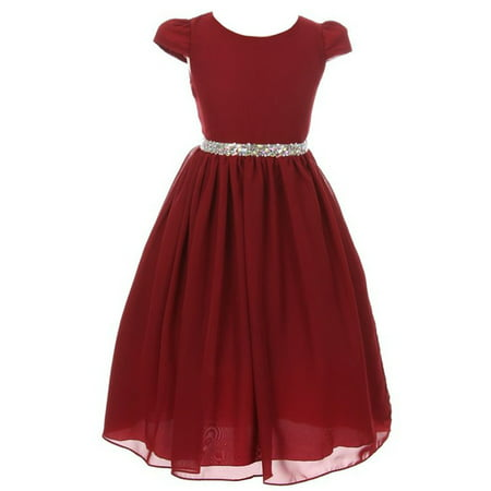 Kiki Kids Little Girls Burgundy Chiffon Rhinestone Waist Christmas Dress