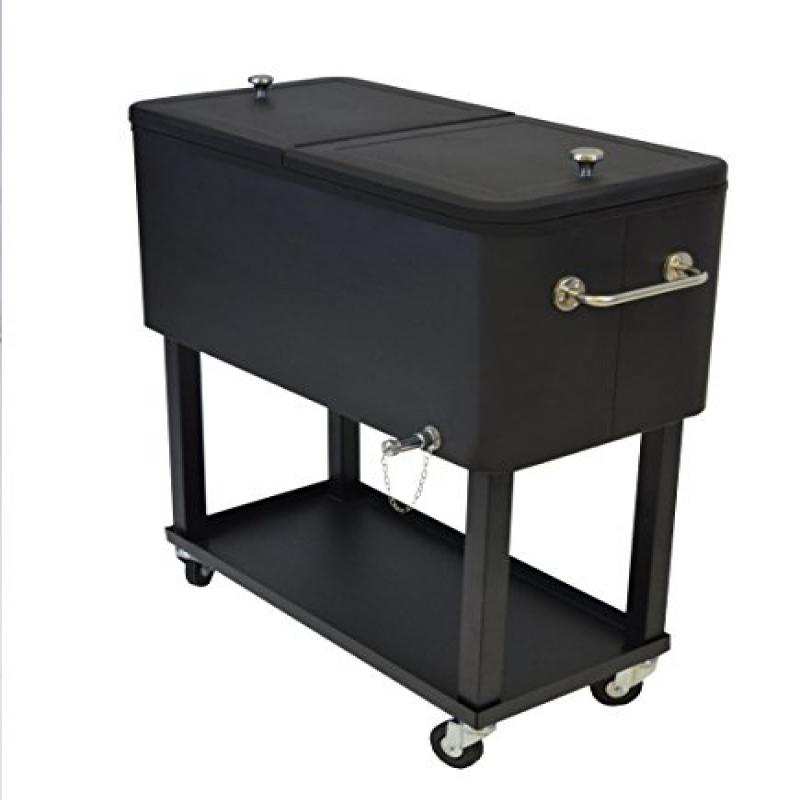 Oakland Living 90010-BK Steel Patio Cooler with Cart, 80-Quart