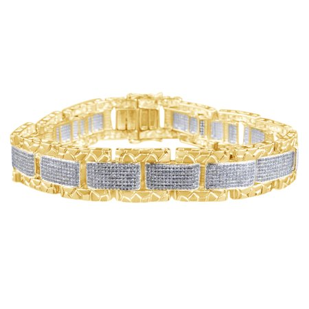 Round Shape White Natural Diamond Nugget Border Bracelet In 10k Yellow Gold (6.33 (Natural Gold Nugget)