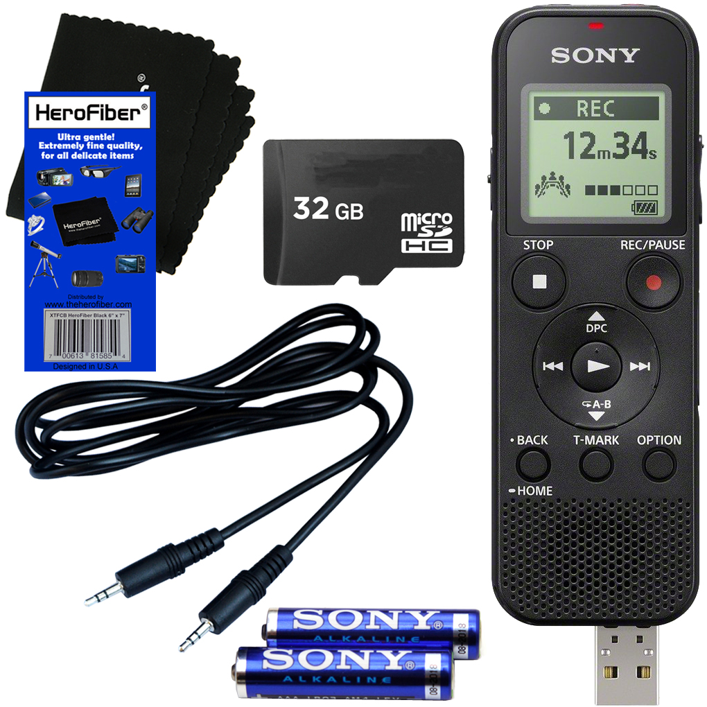 Sony ICD-PX370 Mono Digital Voice Recorder with Built-in 4GB & Direct USB + 32GB Micro SDHC Memory Card + Auxiliary Cable + AAA Batteries + HeroFiber® Ultra Gentle Cleaning Cloth