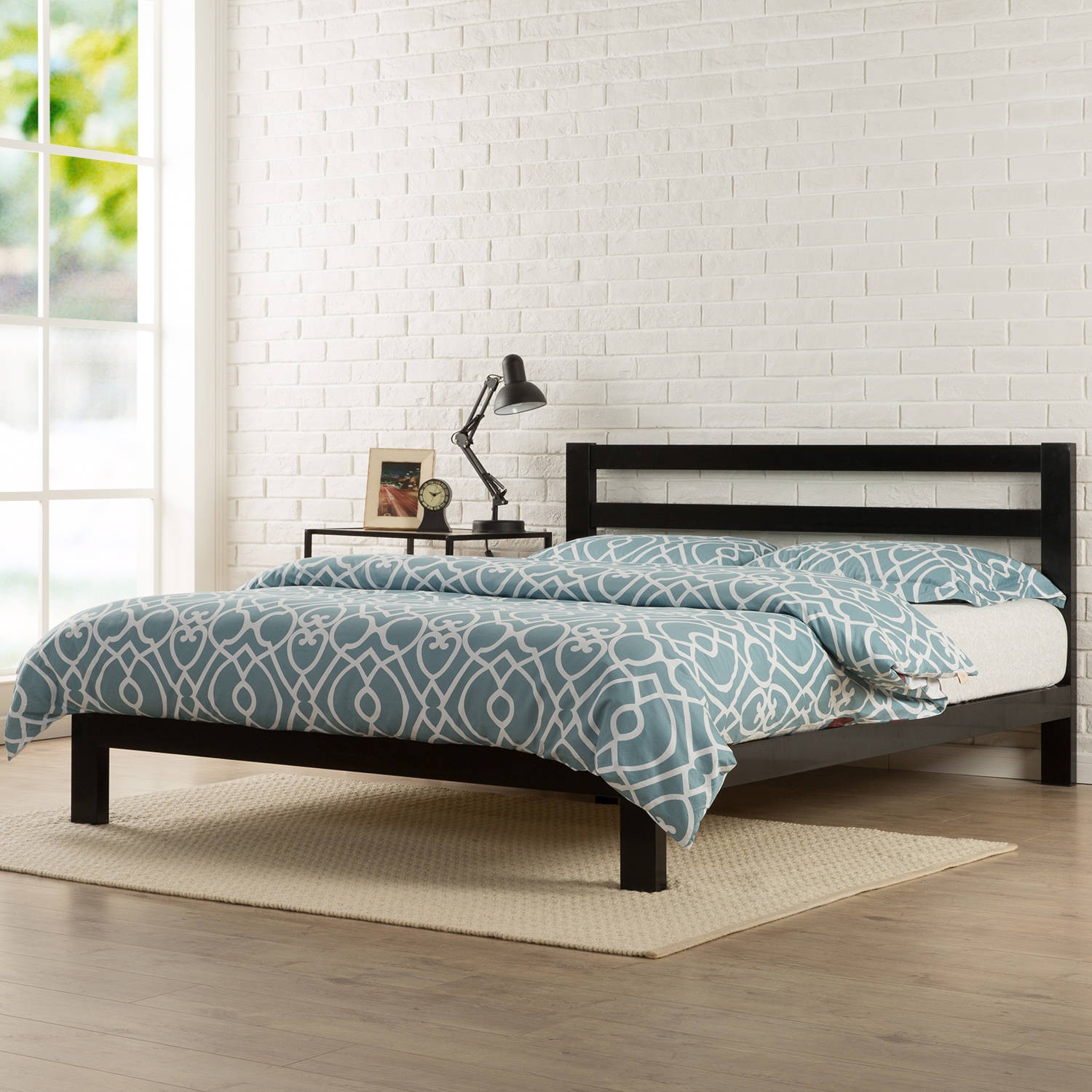 "Modern Studio 10"" Metal Platform Bed with Headboard, Multiple Sizes"