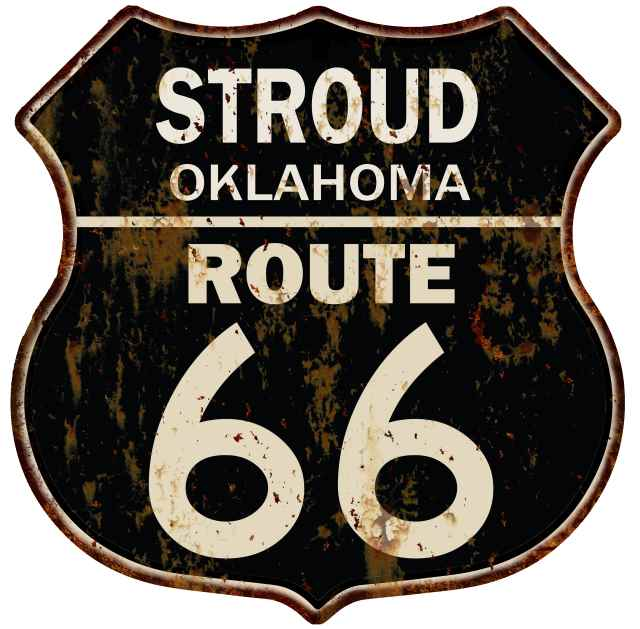STROUD OKLAHOMA Route 66 Shield Metal Sign Man Cave Garage 211110013198