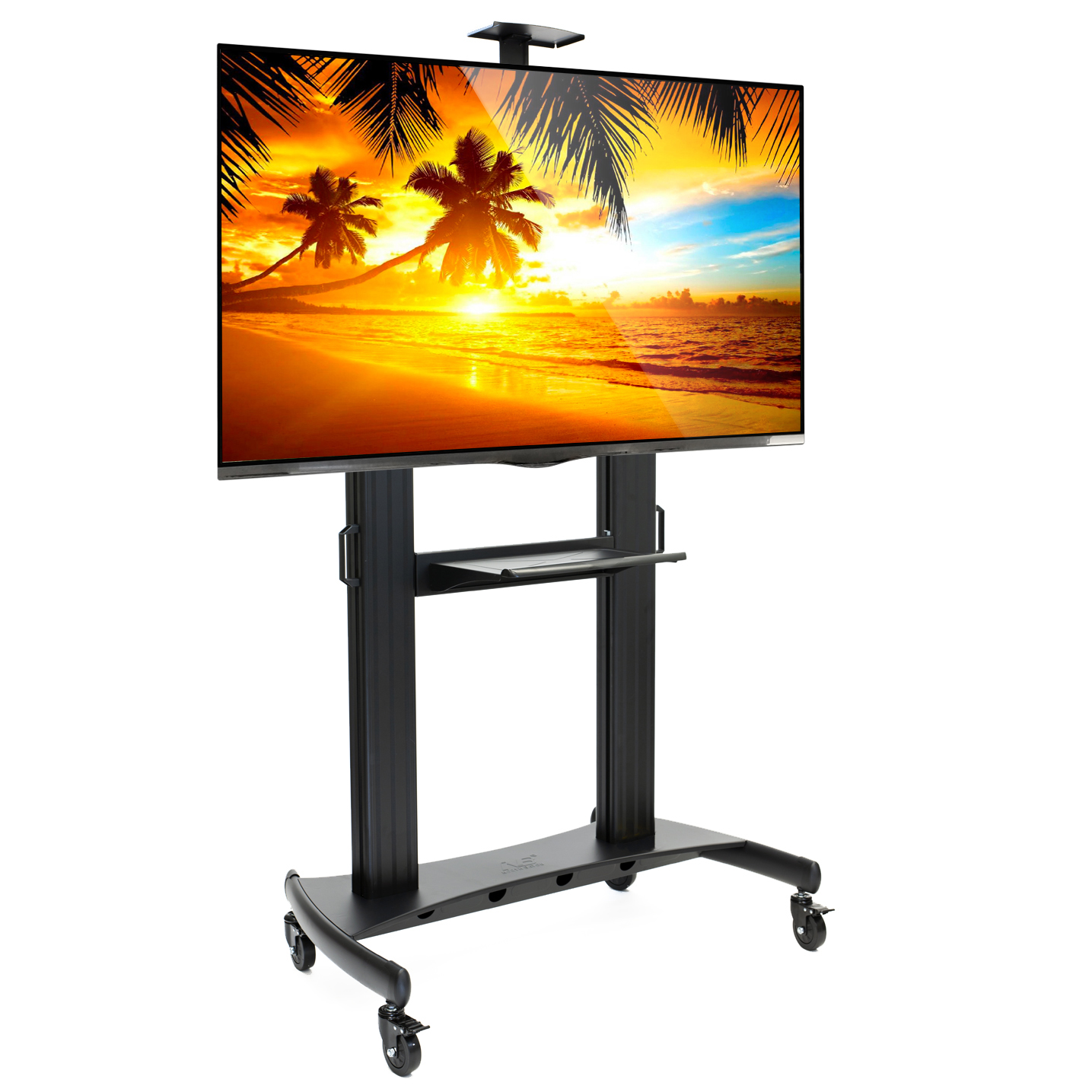 """Rolling TV Stand Mobile TV Cart for 60"""" - 100"""" Flat Screen, LED, LCD, OLED, Plasma Curved TV's - Universal Mount with Wheels"""