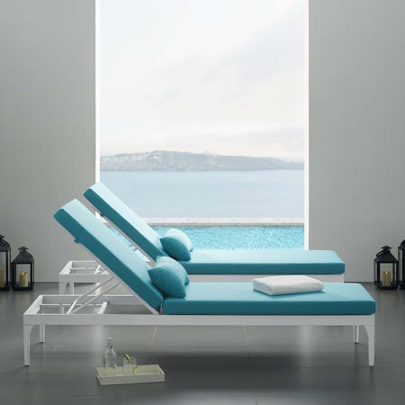 Excellent Perspective Cushion Outdoor Patio Chaise Lounge Chair In White Turquoise Machost Co Dining Chair Design Ideas Machostcouk