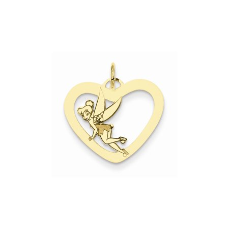 Tinkerbell Heart Charm - Sterling Silver or Yellow Gold Plated Disney Tinker Bell Heart Charm