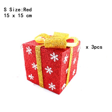 Wooden Christmas Yard Art - Pack of 3 Lighted Christmas Snowflakes Gift Wrap Boxes Yard Art Holiday Decoration (NOT Included LED light), Red, S