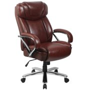 BSD National Supplies Santoro Big & Tall Brown Leather Executive Adjustable Swivel Office Chair with Wide Cushioned Seat and Padded Arms