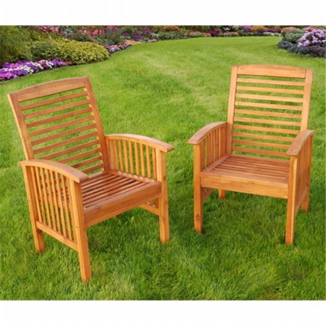 Acacia Wood Patio Chairs with Cushions - Set of 2