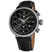 Akribos XXIV  Men's Black-dial World-time Alarm Leather-strap Watch