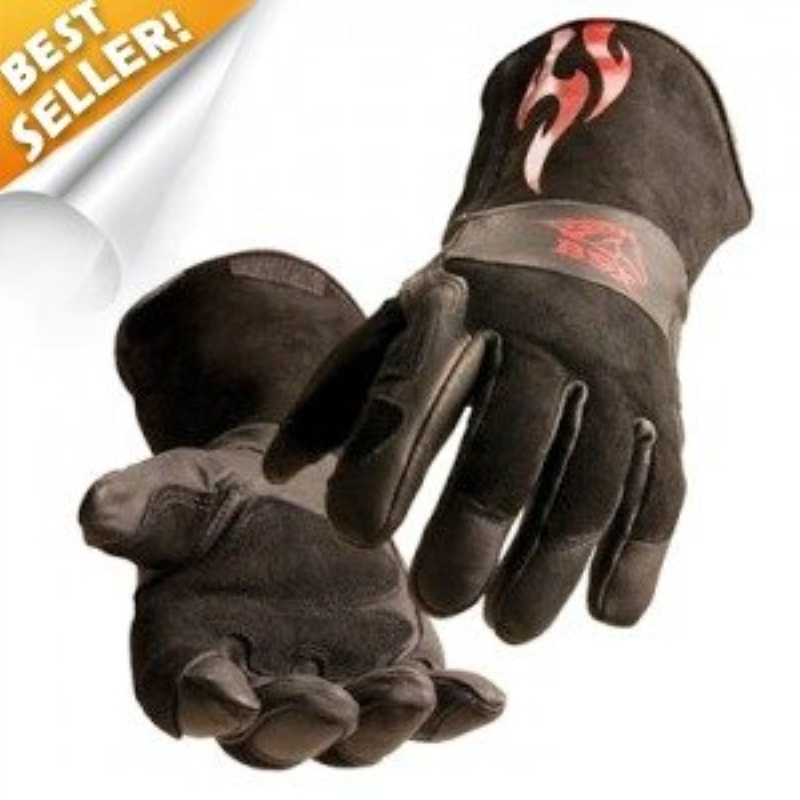 BSX Stick/MIG Welding Gloves - Black with Red Flames, Size Large