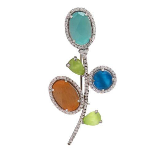 Luxiro Sterling Silver Gold Finish Gemstone and Cubic Zirconia Flower Brooch by Overstock