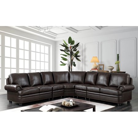 Kosovo Transitional Style Sectional Sofa in Dark Brown Top Grain Leather Match (Dark Brown Leather Match)