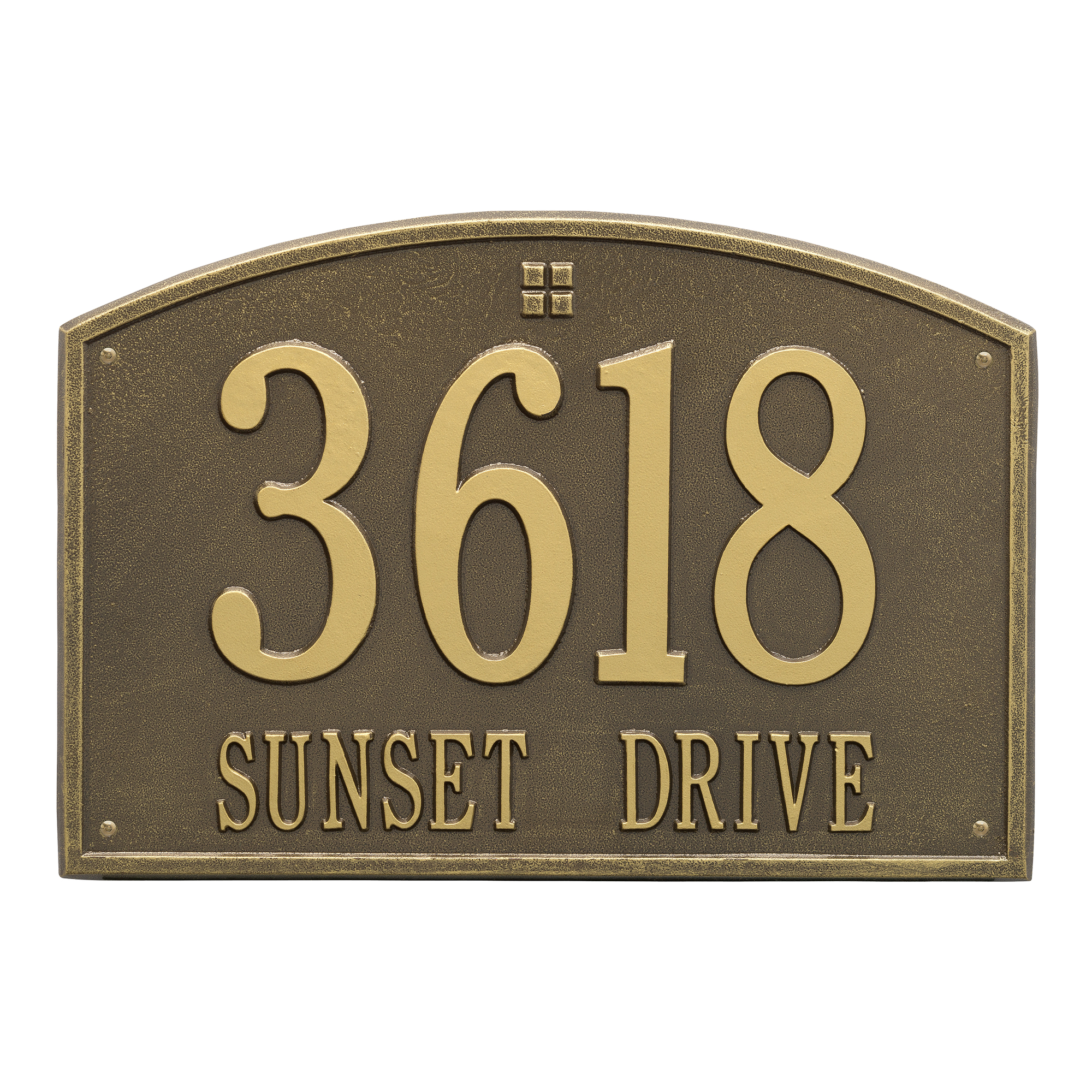 Whitehall Products 2-Line Personalized Address Wall Plaque in Antique Brass by Whitehall