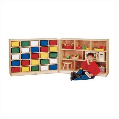 25 Tray Cubbie Fold-n-lock With Colored Trays-Option:With Clear Trays