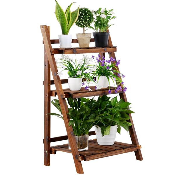 Topeakmart 3 Tier Folding Wooden Plant Stand Wood Organizer Flower