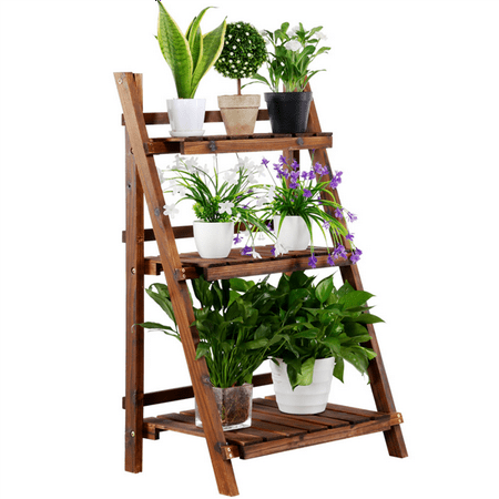 Topeakmart 3 Tier Folding Wooden Plant Stand Wood Organizer Flower Pot Stand Plant Display Shelf Rack Ladder Garden Indoors Outdoors ()