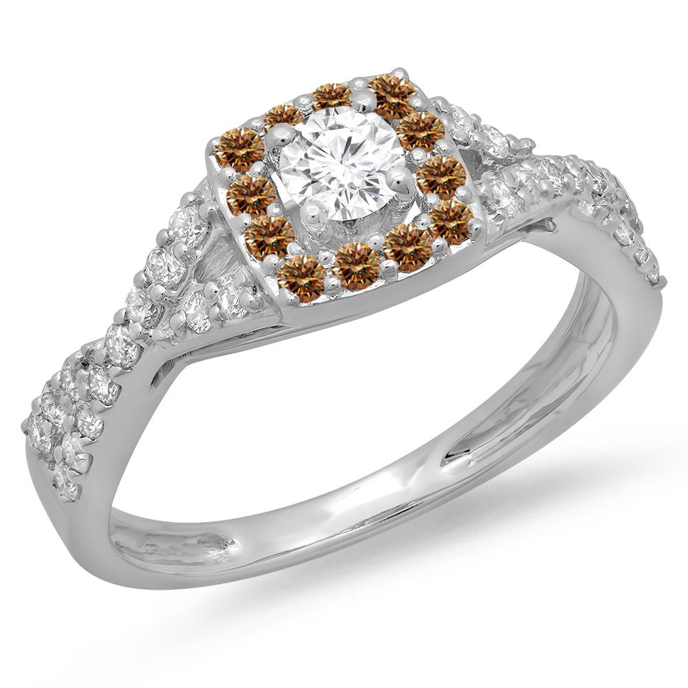 0.75 Carat (ctw) 18K White Gold Round Cut Champagne & White Diamond Ladies Bridal Swirl Split Shank Halo Engagement Ring