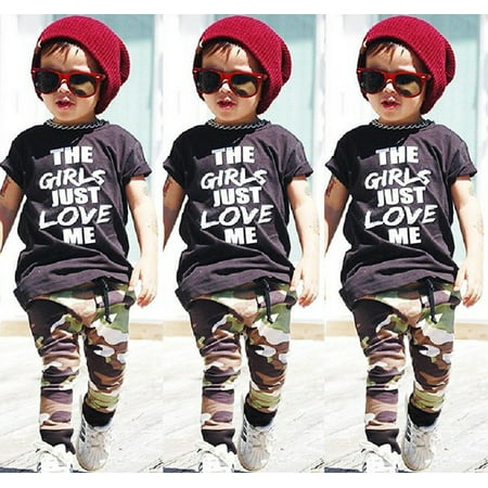 Fashion Toddler Kids Boys Tops T-shirt Camo Pants 2Pcs Outfits Set Clothes Fit For 1-6T - Holiday Clothing For Toddlers