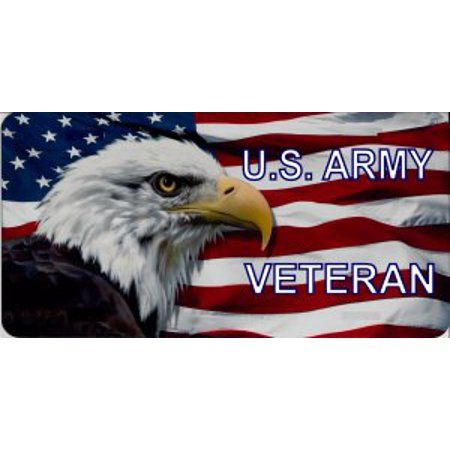 U.S. Army Veteran With Eagle Photo License Plate