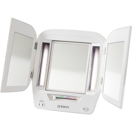 Jerdon Euro Tabletop Tri Fold 2 Sided Lighted Makeup Mirror With 5X Magnification And 4 Light Settings  White