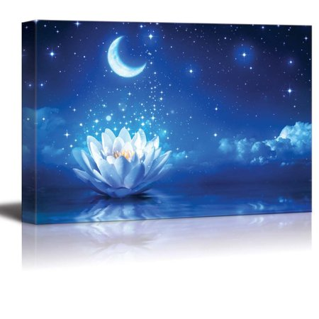 wall26 - Canvas Prints Wall Art - Lotus Flower Floating on Water by Moonlight | Modern Wall Decor/Home Decoration Stretched Gallery Canvas Wrap Giclee Print. Ready to Hang - 32